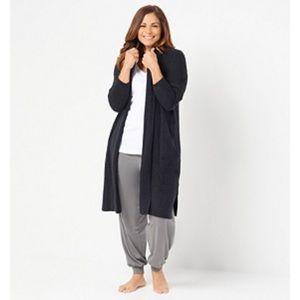 Barefoot Dreams Black Catalina Long Cardigan XL